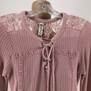 American Rag Tops - American Rag Waffle Knit Lace Up Long Sleeve Top